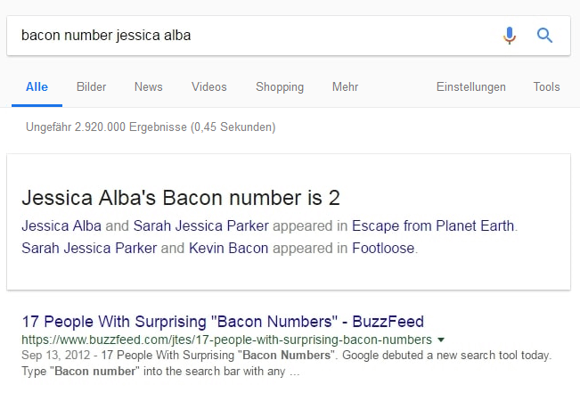 Das Bacon Number Easter Egg