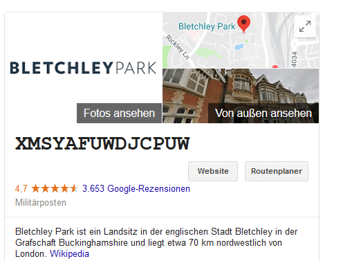 Bletchley Park Google Easteregg