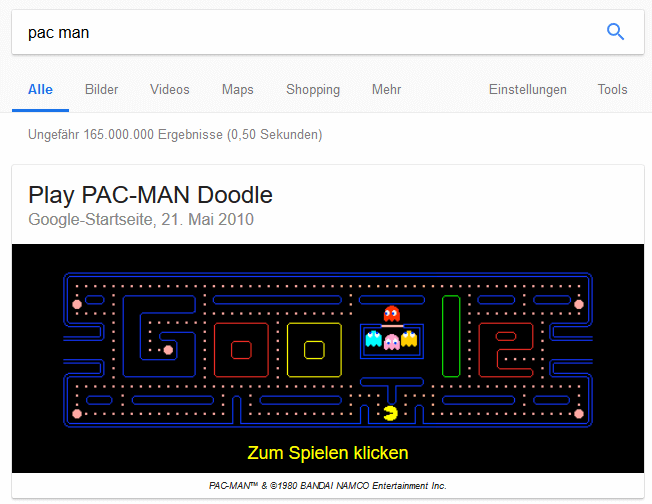 Pac Man in Google spielen!