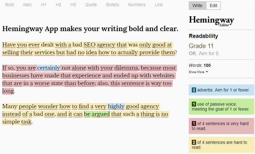 Hemingway App Tool for SEO