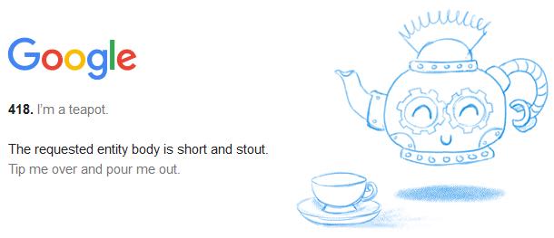 Teapot 418 Google Fehler