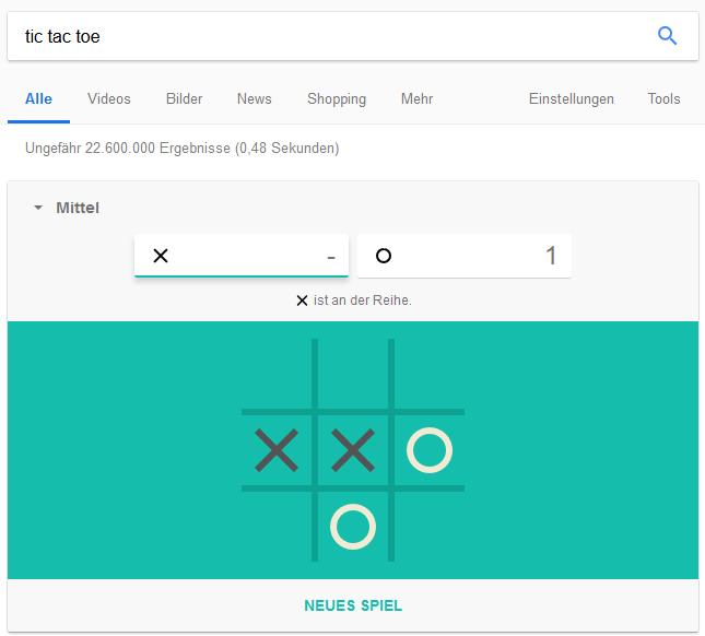 Tic Tac Toe in Google spielen